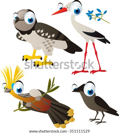 vector cute cartoon set of comic animals: harpy, stork, hoatzin, daw. useful for kids mobile apps, flash card games, invitations, wall decor and other