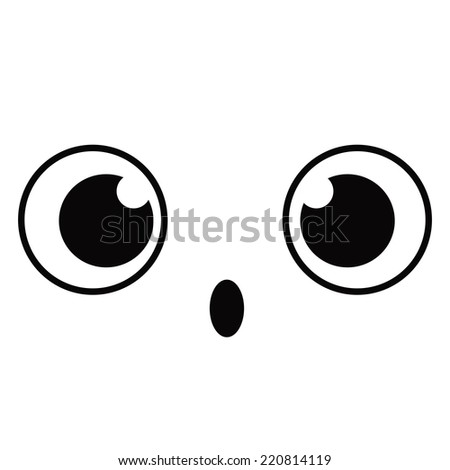 Vector Cute Cartoon Surprised Face Editable