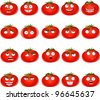 Vector cute cartoon tomato smile with many expressions - stock vector