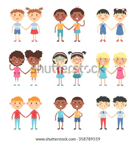 Vector cute cartoon twins brothers and sisters. Twin kids isolated. Small twin kids, children twin couples. Kids posing. Twin children vector people isolated. Twin kids holding hands - stock vector