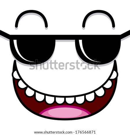 Vector Cute Cartoon White Face With Sunglasses  - stock vector