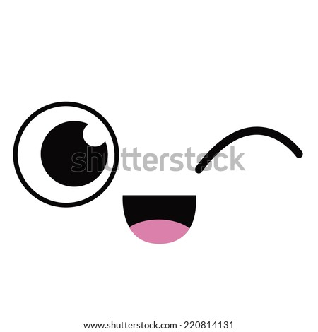 Vector Cute Cartoon Winking Face Editable - stock vector