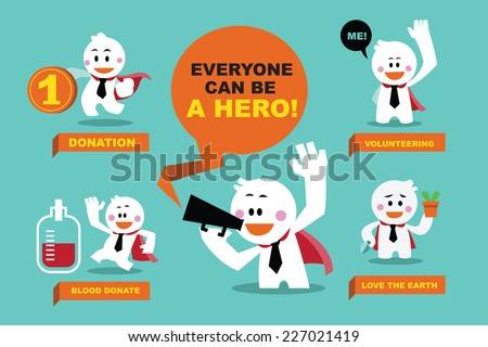 vector cute characters businessman as superhero with everyone can be a hero, positive concepts - stock vector