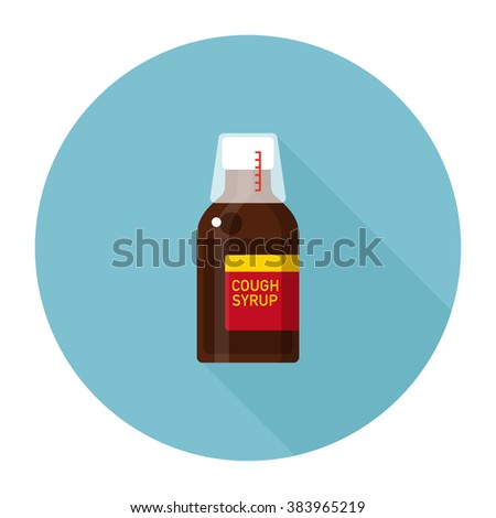 vector cute cold medicine, medicated syrup, cough syrup / brown color bottle with liquid, amber glass, measuring cup / cartoon, flat style, long shadow design, icon template, circle / blue on white - stock vector