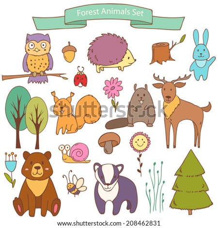 Vector cute  collection with forest animals , each element on separate layer - stock vector