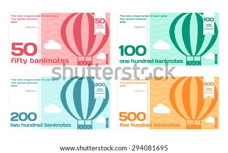 Vector Cute Color Banknotes Set 2 in Flat Style on White Background - stock vector