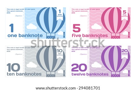 Vector Cute Color Banknotes Set 1 in Flat Style on White Background - stock vector