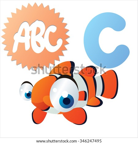 vector cute comic animals ABC: is C for funny Clown fish - stock vector