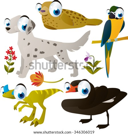 vector cute comic cartoon animals set for book or app or cards or banner or sticker illustration: seal, parrot, dog, dinosaur, swan - stock vector