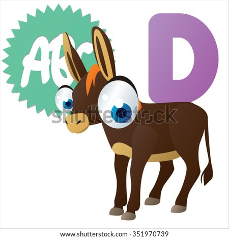 vector cute comic cartoon cool animals alphabet set: D is for Donkey - stock vector