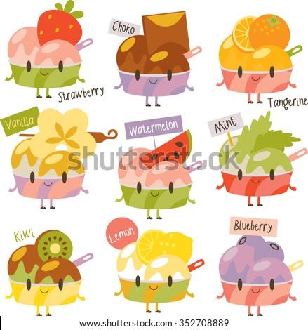 vector cute comic cartoon ice-cream flavors. Labels stickers avatars or menu illustrations. Strawberry, chocolate, orange, vanilla, watermelon, mint, kiwi, lemon, blueberry - stock vector