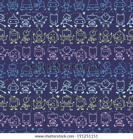 Vector cute doodle robots stripes seamless pattern background with hand drawn elements. - stock vector