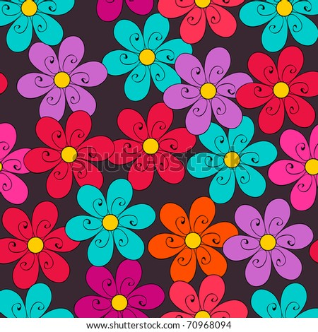 Vector cute doodle seamless floral spring background illustration
