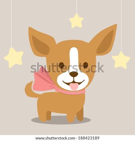 Vector cute drawing dog Chihuahua - stock vector