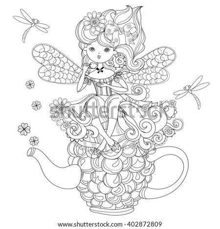 Vector cute fairy girl in flowers on raspberry teapot..Vector line illustration.Sketch for postcard or print or coloring adult book.Boho zentangle style doodle. - stock vector