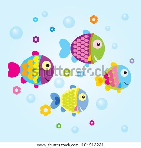 Vector Cute Fish - stock vector
