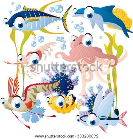 vector cute fish set including octopus, tuna, dolphin, sailfish and shrimp - stock vector