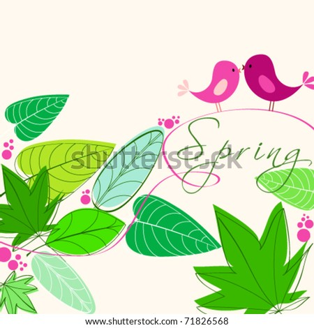 Vector cute floral spring birds illustration - stock vector