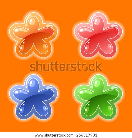 Vector cute flower shaped game buttons - stock vector