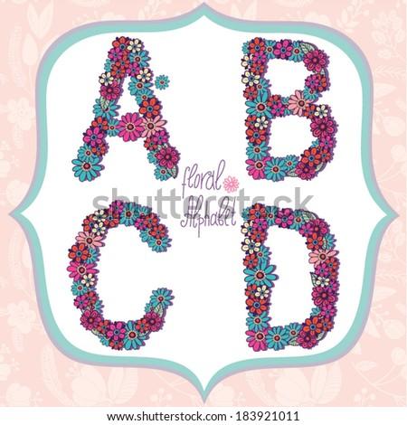 Vector cute gentle Floral alphabet, vintage letters A, B, C, D. - stock vector