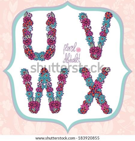 Vector cute gentle Floral alphabet, vintage letters U, V, W, X. - stock vector