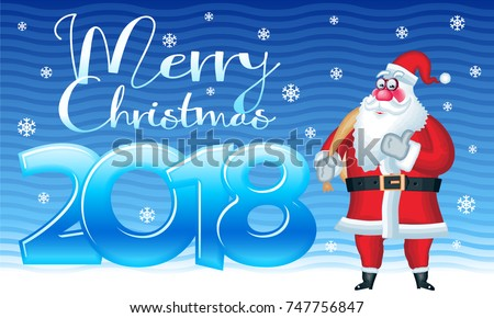 Vector Cute Greeting Card With Snow And Funny Santa Claus Saying OK. Merry  Christmas 2018