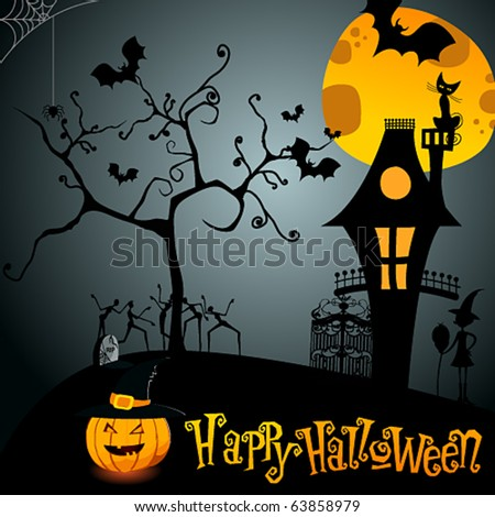 Vector cute Halloween illustration - stock vector