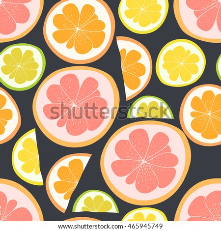 Vector cute hand drawing citrus seamless pattern background