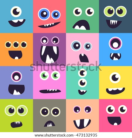 Vector cute hand drawing funny monster faces set background