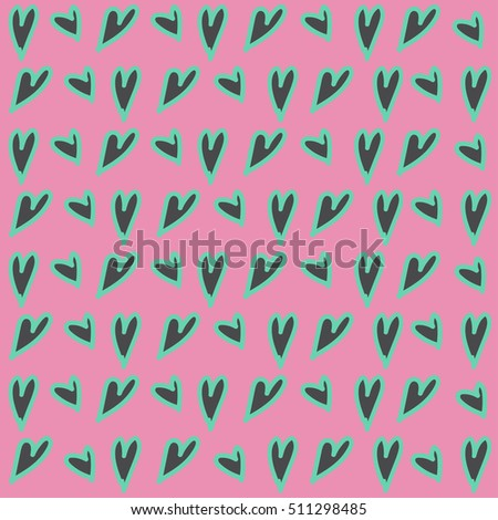 Vector cute hand drawing hearts seamless pattern background