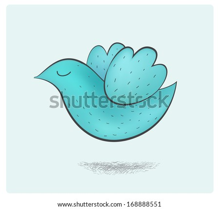 vector cute hand drawn flying blue bird illustration, icon isolated