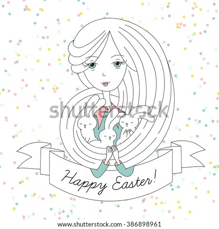 Vector cute hand drawn girl with three bunnies and ribbon. Happy Easter!