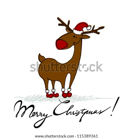vector cute hand drawn style Christmas background with reindeer - stock vector