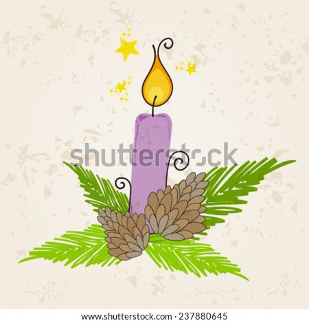 Vector cute hand drawn style Christmas greeting card with candle - stock vector