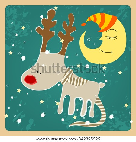 Vector cute hand drawn style Christmas greeting card with cute reindeer - stock vector