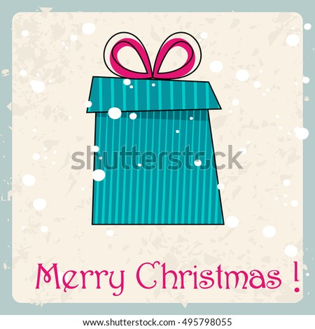 Vector cute hand drawn style Christmas greeting card with gift box