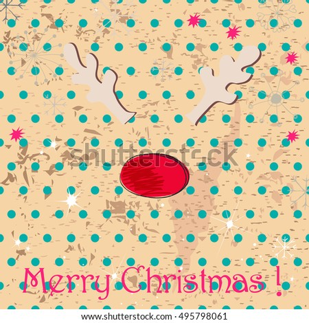 Vector cute hand drawn style Christmas greeting card with reindeer