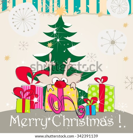 Vector cute hand drawn style Christmas greeting card with reindeer, presents and Christmas tree - stock vector