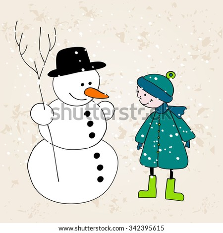 Vector cute hand drawn style Christmas greeting card with snowman and boy - stock vector