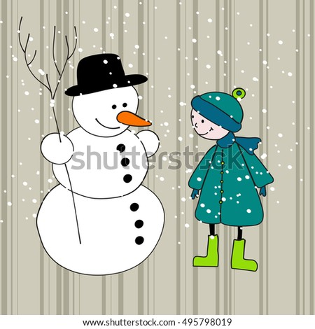 Vector cute hand drawn style Christmas greeting card with snowman and boy