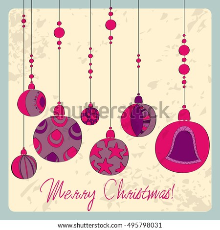 Vector cute hand drawn style Christmas greeting card with tree ornaments