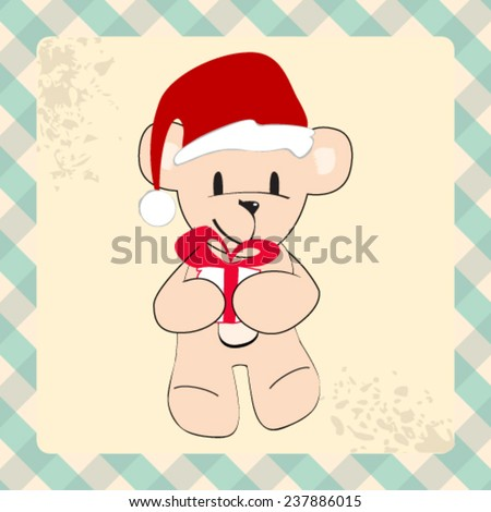 Vector cute hand drawn style Christmas teddy bear with Santa's hat - stock vector