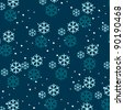 Vector cute, hand drawn style winter background illustration with snow - stock photo