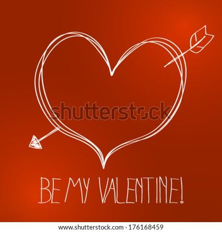 Vector cute hand drawn valentine background illustration - stock vector