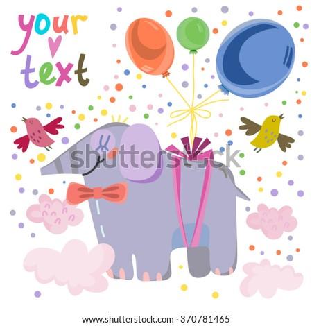 Vector cute happy birthday card of lovely elephant and air balloons. - stock vector