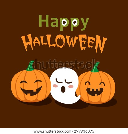 Vector Cute Happy Halloween design template   - stock vector