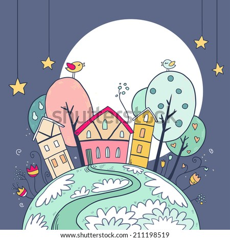 Vector cute illustration with night houses and moon with stars