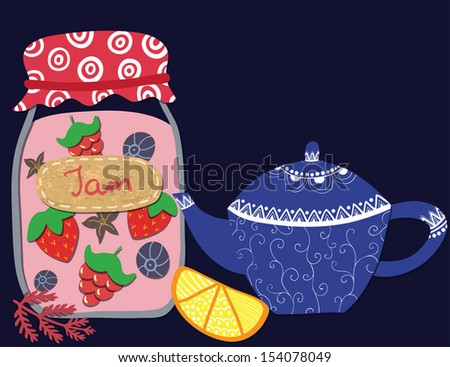 Vector cute illustration with teapot, jam-jar, lemon on the dark background - stock vector