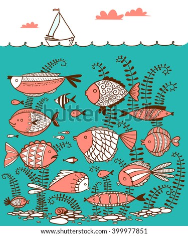 Vector cute line art doodle illustration with underwater fishes and sailing ship on the waves in cartoon style - stock vector