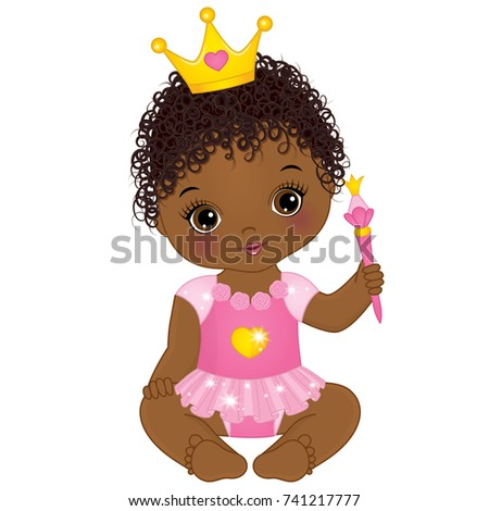 vector cute little african american baby stock photo photo vector rh shutterstock com african american baby shower clipart african american baby girl clipart free